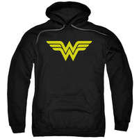 DC/WONDER WOMAN LOGO-ADULT PULL-OVER HOODIE-BLACK