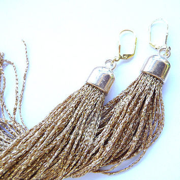 Tassel Earrings, Long Tassel Earrings, Fringe Earrings, Gold tassel earrings, gold tassel, gold earrings, Long earrings, long tassel