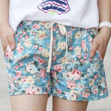 2016 Summer Style Shorts Fashion Floral Elastic Waist Drawstring Shorts Women  A100