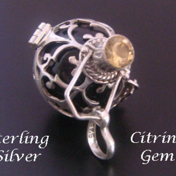 Sterling Silver Harmony Ball with Citrine Gemstone and Black Chime Ball in 925 Silver Cage, Bola Necklace, Pregnancy Gift, Angel Caller 564