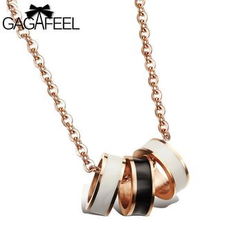 GAGAFEEL Necklace Friendship Pendants Women Men Gold Color Jewelry Black White Epoxy 3 Circle Pendant Clavicle  Luxury Gifts