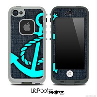 Denim and Turquoise Anchor Skin for the iPhone 5 or 4/4s LifeProof Case