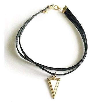 Punk All-match jewelry Black Retro Gothic Cord Choker Gold small Triangle Double Leather Charm Pendant Necklace