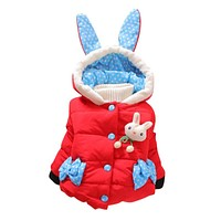 2017 Autumn-WInter Toddler Girls Rabbit Coat