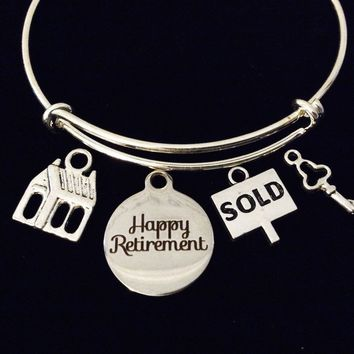 Happy Retirement Real Estate Realtor Adjustable Bracelet Expandable Charm Bangle Office Co-Worker Gift Retire Sold Sign House Key