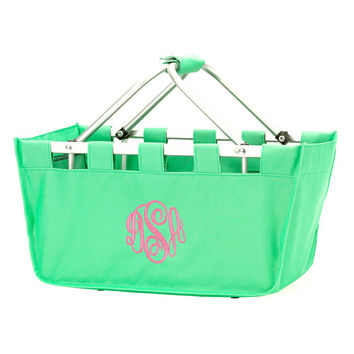 Mint Green Market Tote, Easter Basket, Monogrammed Basket, Personalized Tote Bag, Pool Bag, Teacher Gift, Summer Bag