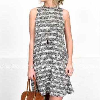 Kari Grey Striped Dress
