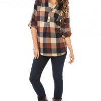 BAXTER PLAID BLOUSE IN BROWN