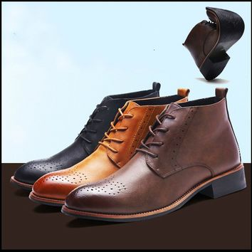 Autumn and Winter Men's Fashion Business Dress Leather Shoes Oxford Flat Shoes Ankle Boots Martin Boots High Quality Lace Leathe