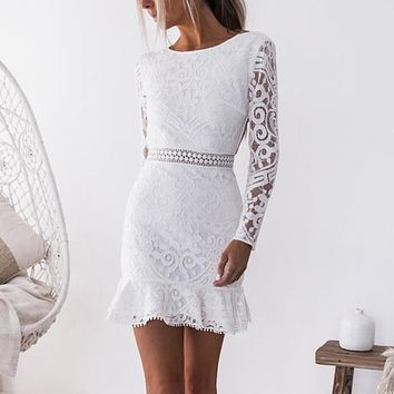 Women Hallow Out White Lace Dress O-Neck Long Sleeve Backless Sexy Bodycon Dresses Lady Party Dress #EP
