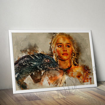 Daenerys, Mother of Dragons Watercolor Art Poster, Game of Thrones Art Poster, Watercolor Painting, House Targaryen, Daenerys Khaleesi print