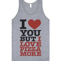 I Love You (Pizza Tank)-Unisex Athletic Grey Tank