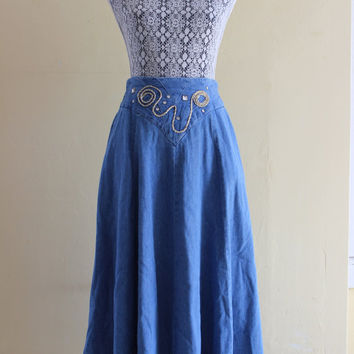 90's high waisted denim maxi southwestern skirt gold and silver rope detail studs
