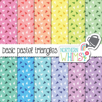 Triangle Digital Paper - triangle confetti seamless patterns on pastel backgrounds - scrapbook paper - printable paper - commercial use