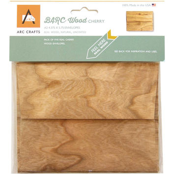Cherry Veneer Real Wood Envelopes - A2 Size, Set of 5, BARC Wood by ARC Crafts