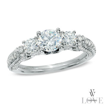 Vera Wang LOVE Collection 1-1/3 CT. T.W. Diamond Three Stone Engagement Ring in 14K White Gold - View All Rings - Zales
