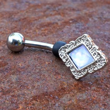 Clear Illuminating Stone Diamond Shaped Belly Button Navel Ring Piercing