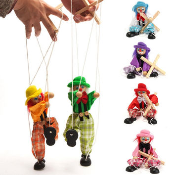 Pull String Puppet Clown Wooden Marionette Toy Doll Vintage for Child Kid Gifts Wood Activity Doll Vintage Funny Classic Toy