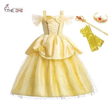 MUABABY Girls Princess Belle Dress up Kids Off Shoulder Sequin Straps Long Dress Beauty and The Beast Halloween Cosplay Costume