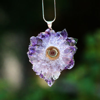 Stalactite Pendant Amethyst Slice or Crystal by GlimmeringGems