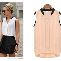 Plus Size Solid Color Sleeveless Blouse [6259230404]