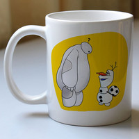 baymax and olaft disney movie mug two side cramics high quality
