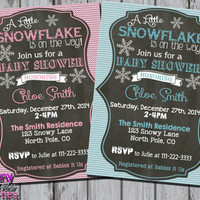 LITTLE SNOWFLAKE INVITATION - Winter Baby Shower Invite - Winter Shower Invite - Little Snowflake Shower - Chalkboard boy or girl pink blue
