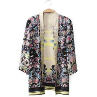 Wholesale Trendy Style Collarless Full Floral Print 3/4 Sleeve Kimono For Women (AS THE PICTURE,L), Blouses - Rosewholesale.com