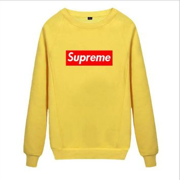 Supreme Round collar female loose couple costume Sweater Yellow