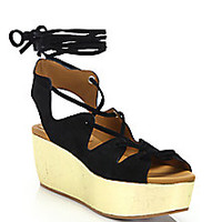 See by Chloé - Liana Suede Lace-Up Platform Wedge Sandals - Saks Fifth Avenue Mobile