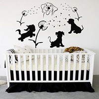 Puppies Decals Dog Decal Vinyl Dandelion Sticker Pet Shop Decor Interior Design Bedroom Nursery Art Murals MN973