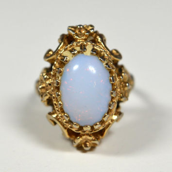 Vintage Opal Ring Karaclad 18k HGE ESPO Signed Ring Gold Filigree Size 7 Vintage Ring Karaclad Jewelry