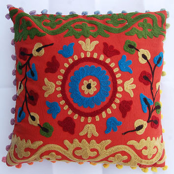 Indian Embroidered Pillow Cover Uzbek Suzani Cushion Cover Handmade Sofa Cushion Cover Home Decor Living Room Decoration High Fashion