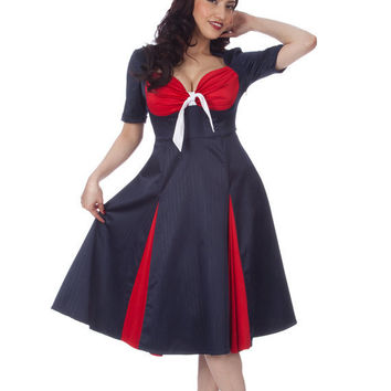 Kitty Navy Pinstriped Sailor Swing Dress with by FablesbyBarrie