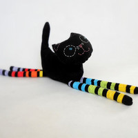 Stuffed animal soft safe for child toy Black cat. Cotton colorful sweet cat. OOAK