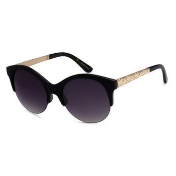 Rounded Half Frame Decorative Gold Arm Sunglasses - Black/Gray, Tortoise/Brown, Ivory/Gray, Ombre Blue/Gray, Ombre Purple/Gray or Ombre Red/Gray