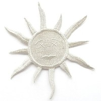 "[Single Count] Custom and Unique (4""x4"" Inches) Sun with Face Iron On Embroidered Applique Patch {Silver}"