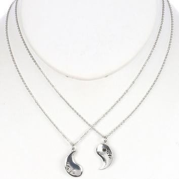 Sliver Yingyang Metal Charm 2Pc Relationship Chain Necklace
