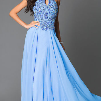 Beaded Periwinkle Blue Long High Neck Open Back Prom Dress