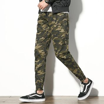 2017 New Men's Joggers Pants Fashion Army Camouflage Casual Pants Men Military Mens Trousers Zipper Design Cuff Harem Pants Boys