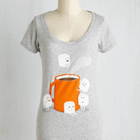 Quirky Mid-length Short Sleeves Jumping to Cocoa-lusions Tee