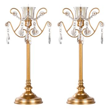 2-Piece Metal Candlestick Candelabra Set with Glass Crystals (Gold)