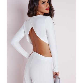 Missguided - Wrap Back Long Sleeve Crop Top White