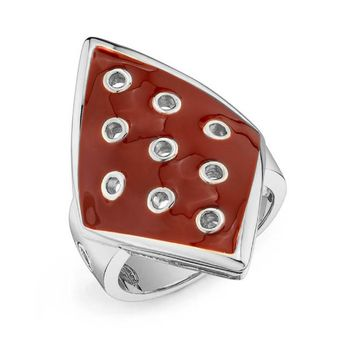 House of Harlow 1960 Jewelry Palladium Plated Ring with Enamel