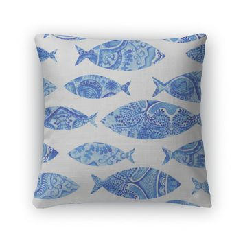 Throw Pillow, Pattern With Fishes Watercolor Hand Painted Watercolor Fish With Stylized Blue