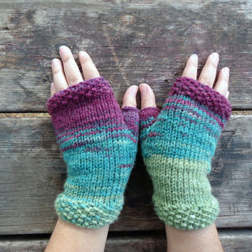 Women's hand knit fingerless gloves, knitted gloves, hand knit mittens, green purple knit gloves, knit wrist warmers, knit hand warmers