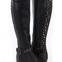 Black Faux Leather Studded Knee High Riding Boots