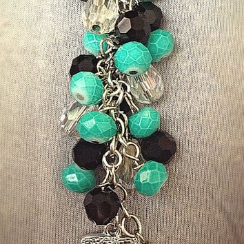 "Teal ""Sisters"" aqua crystal beaded keychain, purse charm, personalized keychain, family charm, chunky beaded keychain"