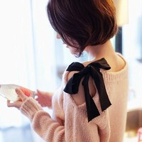 Cute Bow Cut Out Shoulder Top for Fashion Girls
