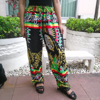 Bob Marley Reggae Rasta Yoga Pants Harem Print Unisex African Jamaica Fisherman Native Hippie Massage pants Gypsy Thai Handmade Clothing